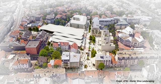Vue aérienne de la place du marché - ATSL -  Atelier Silva Landscaping