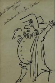 Jean Cocteau, Sarah Bernhardt dans Cyrano, première moitié du XXe siècle, dessin à l'encre sur papier, 43 x 34 cm © Collection Kathia David et Thomas Sertillanges