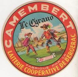 Étiquette d'emballage pour le camembert Le Cyrano, milieu du XXe siècle © Collection Kathia David et Thomas Sertillanges