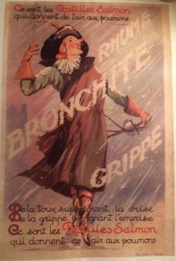 Publicité pour les pastilles médicinales Salmon, années 1930-1950, illustration entoilée, 50 x 45 cm © Collection Kathia David et Thomas Sertillanges