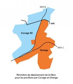 Périmètre de déploiement de la fibre pour les pavillons par Covage et Orange